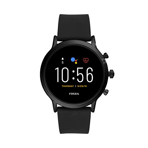 Fossil Unisex 44MM Gen 5 Carlyle HR Heart Rate Stainless Steel and Silicone Touchscreen Smart Watch, Color: Black (Model: FTW4025)