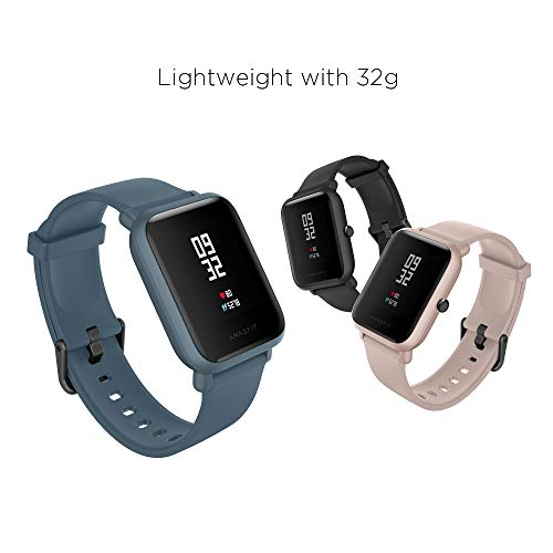 Amazfit Bip Lite Smartwatch, 45-Day Battery Life, Heart Rate & Sleep Monitor, 1.2' Always-On Touchscreen, 3 ATM Water Resistant, Multisport Tracker, Black, Model Number: W1915IN1N
