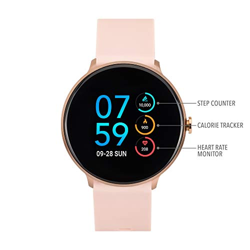 iTouch Sport Round Smartwatch with Waterproof Technology, Heart Rate Monitor, Multi-Sports Mode, Pedometer, for Android and iOS Smart Phones - Solid Silicone Strap (Blush)