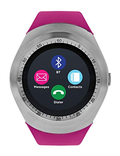 iTOUCH Curve Smartwatch Unisex Fitness Pedometer Sleep Monitor Calorie Tracker Silver Fuchsia - Compatible with Android & iOS
