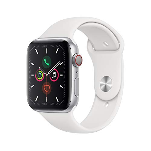 Apple Watch Series 5 (GPS+Cellular, 44mm) - Silver Aluminum Case with White Sport Band