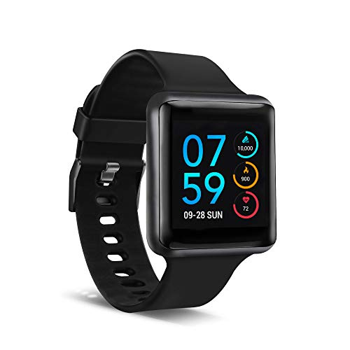 iTouch Air SE Smartwatch & Activity Tracker with Heart Rate Monitor, Sleep & Step Tracker. Water Resistant Smart Watch for Women & Men, Compatible with Android & iOS, Black Case with Black Strap, 41MM