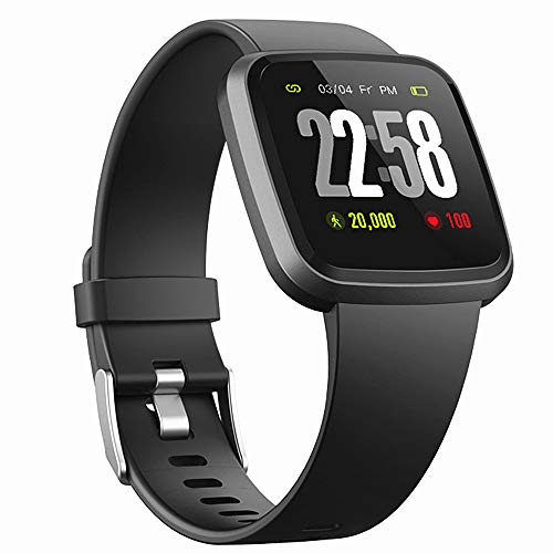 H4 Fitness Health 2in1 Smart Watch for Men Women Smartwatch with All-Day Heart Rate / Blood Pressure / Sleep Monitor IP67 Waterproof Sports Activitity Tracker Bluetooth Watch (Black)