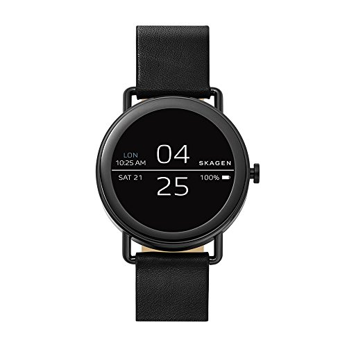Skagen Connected Falster Stainless Steel Quartz Watch with Leather Strap, Black, 20 (Model: SKT5001)