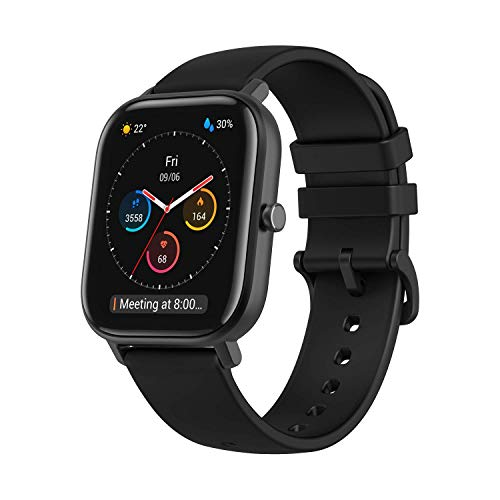 Amazfit GTS Fitness Smartwatch with Heart Rate Monitor, 14-Day Battery Life, Music Control, 1.65' Display, Sleep and Swim Tracking, GPS, Water Resistant, Smart Notifications, Obsidian Black