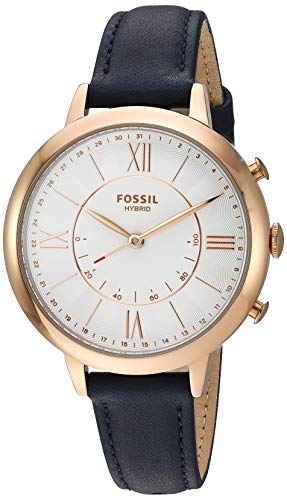 Fossil Women's 36MM Jacqueline Stainless Steel and Leather Hybrid Smart Watch, Color: Rose Gold/blue (Model: FTW5014)