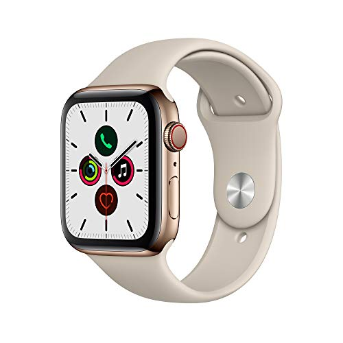 Apple Watch Series 5 (GPS + Cellular, 44mm) - Silver Aluminum Case with White Sport Band