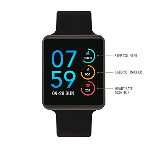 iTouch Air Special Edition Smartwatch with Heart Rate Monitor, Blood Oxygen Monitor, Pedometer, for Android and iOS Smart Phones - Solid Silicone Strap Black/Black, 41mm (Small/Medium)