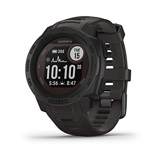 Garmin 010-02293-10 Instinct Solar, Solar-Powered Rugged Outdoor Smartwatch, Built-in Sports Apps and Health Monitoring, Graphite