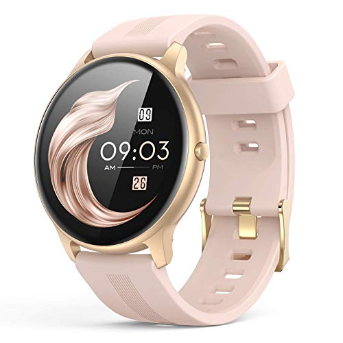 Smart Watch for Women, AGPTEK Smartwatch for Android and iOS Phones IP68 Waterproof Activity Tracker with Full Touch Color Screen Heart Rate Monitor Pedometer Sleep Monitor, Pink