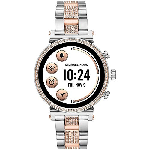 Michael Kors Access Women's Sofie Heart Rate' Touch-Screen Smartwatch with Stainless-Steel Strap, Silver, 18 (Model: MKT5064)
