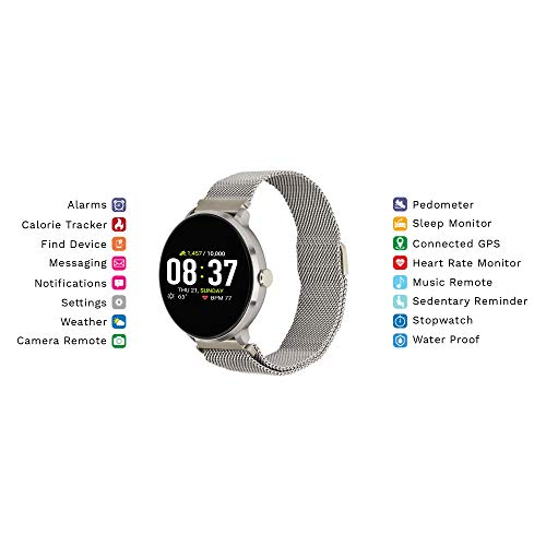 iTouch Wearables Sport Round Smartwatch with Waterproof Technology, Heart Rate Monitor, Multi-Sports Mode, Pedometer, for Android and iOS Smart Phones - Metal Mesh Strap with Magnetic Closure (Silver)