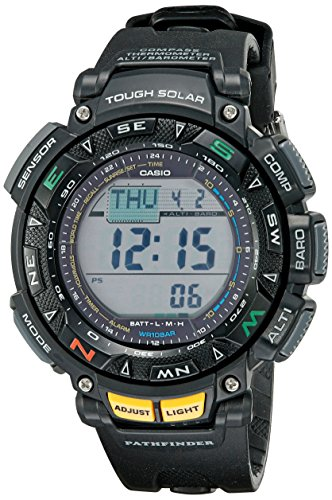 Casio Men's Pro Trek Stainless Steel Quartz Watch with Resin Strap, Black, 18 (Model: PAG240-1CR)