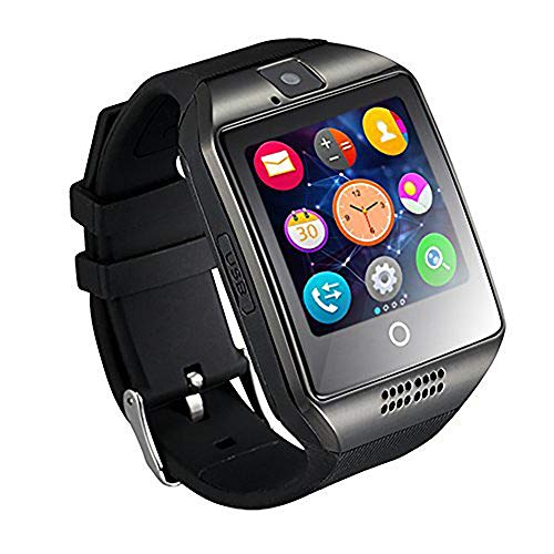 Mgaolo Q18 Smart Watch Smartwatch Bluetooth Sweatproof Touchscreen Phone with Camera TF/SIM Card Slot for Android and iPhone Smartphones for Kids Girls Boys Men Women (Black)