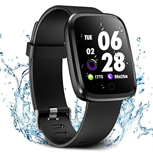 Verpro Smart Watch, Waterproof Fitness Activity Tracker with Heart Rate Monitor, Wearable Oxygen Blood Pressure Wrist Watch, Bluetooth Running GPS Tracker Sport Band, Black