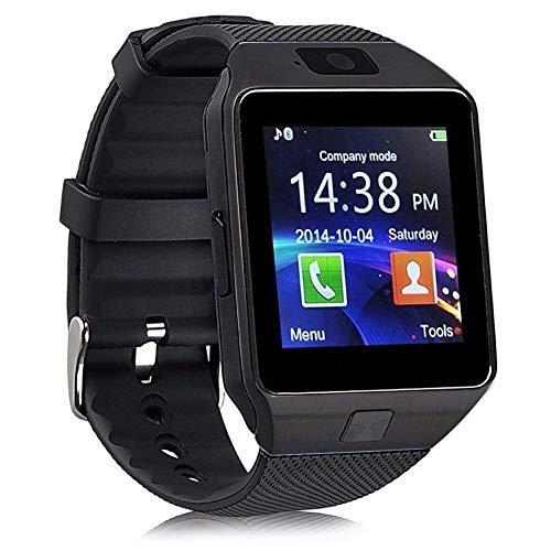 DZ09 Bluetooth Smart Watch Touch Screen with Camera, SIM Card TF/SD Card Slot, Pedometer Activity Tracker for iPhone Android Phones Samsung Huawei PK GT08 A1 (Black)