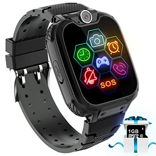 "Kids Game Smart Watch Phone - 1.54"" Touch Screen Game Smartwatches with [1GB Micro SD Card] Call SOS Camera 7 Games Alarm Clock Music Player Record for Children Boys Girls Birthday Gifts 3-10(Black)"