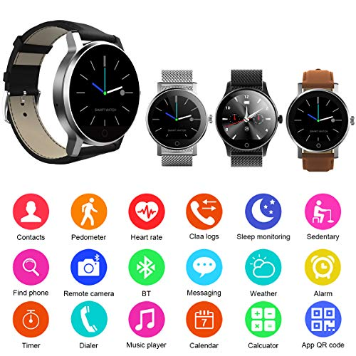 Diggro K88H – Bluetooth Smart Watch with Heart Rate Monitor Watch Bluetooth Phone, IP67 Waterproof, Dust Proof, Pulse Pedometer Sleep Analysis Calorie Counter for iOS Android (K88H Sliver)